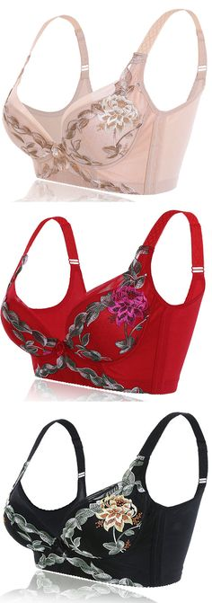 US$23.20 Sexy Push Up Plunge Vice Breast Shaper Gather Embroidered Bras