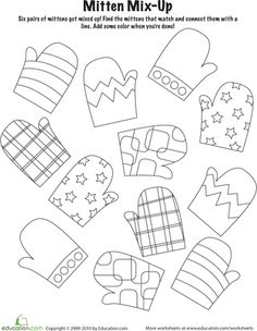Za van maken Winter Kindergarten Holiday Worksheets: Mitten Mix and Match Free Printable Worksheets, Preschool Worksheets, Free Printables, Seasons Worksheets, Matching Worksheets, Winter Kids, Winter Art, Winter Holiday, Winter Thema