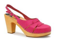 60s Sling RARE NEON PINK Swedish Hasbeens Clog Heels $165 BIN Orig $239 40M 9.5M #Clogs #SwedishHasbeens #PinkShoes
