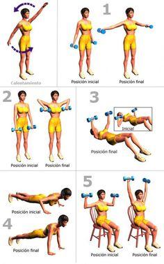 Con la siguiente rutina de ejercicios podrásvencer la flacidez de tus brazos y quemar calorías. ¡Brazos a la obra! Recomendaciones previas: -Usa ropa
