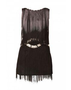 METROPOLIS | Flapper Tassle Dress in Black - Women - Style36