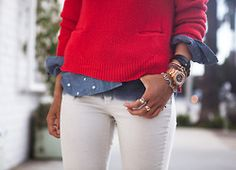 Rachel Rachel Roy SweaterGap Polka Dot Chambray Shirt (similarhereandhere)Celine BraceletKenneth Cole Watch(alsohere)Knot Bracelet(image:songofstyle)