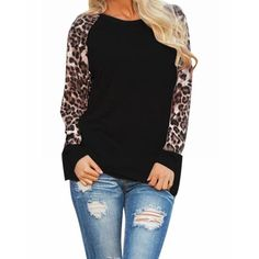 Fashion Women T-shirts Spring Autumn Chiffon Long Sleeve Ladies Leopard  Loose Casual Tees Plus Size Tops Female T Shirt d58daced5