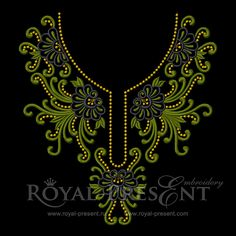 Machine Embroidery Designs by Royal Present Embroidery Embroidery Neck Designs, Embroidery Shop, Machine Embroidery Projects, Free Machine Embroidery, Beaded Embroidery, Embroidery Stitches, Hand Embroidery, Embroidery Online, Neckline Designs