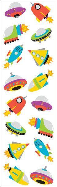 "Mrs. Grossman's Chubby Rocketships Stickers - 6.5"""" x 2"