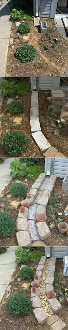 Making A Dry Creek Bed Drainage Canal for Downspouts. by sally tb