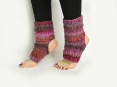 handmade knitted yoga socks in pink-red by from mela with love