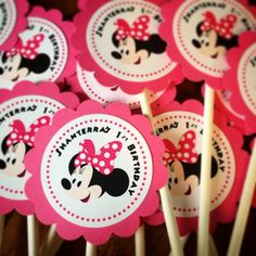 Minnie Mouse Cupcake Toppers w/ stick or Favor Tags w/ ribbon