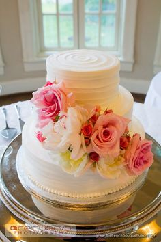 White Peony and Pink Rose Wedding Cake Flowers - The French Bouquet - Ace Cuervo Photography