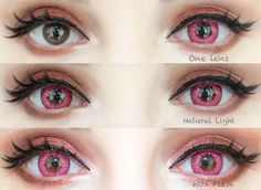 Sweety Free pink are bright, cheerful & opaque. Striated pattern & splashy design make them a perfect choice for Halloween & cosplay cons. Anime Cosplay Makeup, Cosplay Contacts, Ingrown Leg Hair, Colored Eye Contacts, Bigger Eyes, Kawaii Makeup, Halloween Disfraces, Pink Eyes, Pretty Eyes