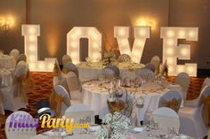 Beautiful LED LOVE Letters. Absolutely HUGE. Perfect statement piece. Brilliant for photographs. From Gary at www.KillaParty.co.uk