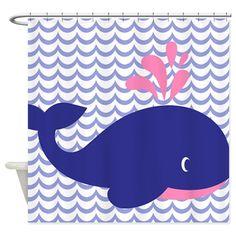 Cute Blue Whale Shower Curtain by jvande - CafePress Whale Shower Curtain, Nautical Shower Curtains, Custom Shower Curtains, Bathroom Shower Curtains, Fabric Shower Curtains, Whale Bathroom, Bathroom Kids, Bathrooms, Whale Decor