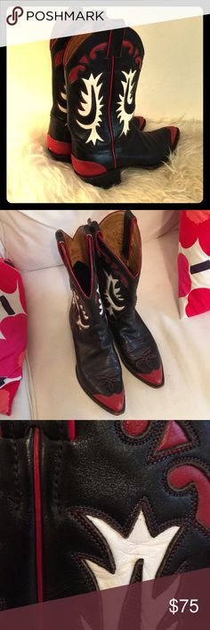 4c7a1a3f4c7 Shop Women s Black Red size Heeled Boots at a discounted price at Poshmark.  The real thing.
