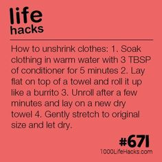 How To Unshrink Clothes is part of School Clothes Hacks - Improve your life one hack at a time 1000 Life Hacks, DIYs, tips, tricks and More Start living life to the fullest! Simple Life Hacks, Useful Life Hacks, Mom Hacks, Hacks Diy, Tech Hacks, 1000 Lifehacks, Laundry Hacks, Clothing Hacks, Things To Know