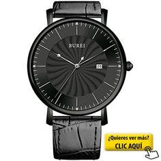 BUREI® Unisex clásico ultra-delgado Big Face... #reloj #hombre