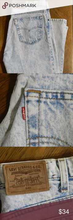 Vintage 80s Mens Levis 540 Acid Wash Jeans 36 x 29 80s Vintage Mens Levis 540 Jeans  Acid wash jeans in excellent condition. Levi's leather label and vintage 540 inner label intact.  Missing size label.  Men's Size 36 x 29  These jeans scream 80s rock and roll style. Love the grunge vibe from these acid-washed bleached out jeans.  Quality denim with Levi's classic 540 style. Relaxed straight leg fit. Levi's Jeans Straight