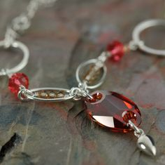 On SAle - One of a kind - Red Swarovski crystal necklace on sterling silver chain