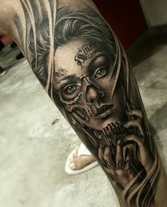 Image may contain: 1 person Skull Girl Tattoo, Girl Face Tattoo, Girl Arm Tattoos, Bff Tattoos, Sugar Skull Tattoos, Forearm Tattoos, Body Art Tattoos, Tattoos For Guys, Sleeve Tattoos