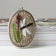 Dragonfly Necklace rustic silk ribbon embroidery - bstudio