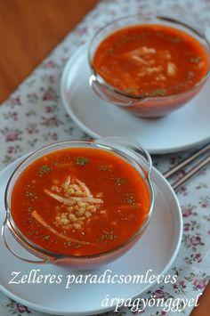 Zelleres paradicsomleves árpagyönggyel 🍴 Ethnic Recipes, Food, Essen, Meals, Yemek, Eten