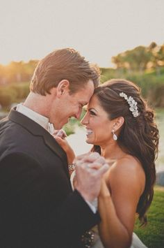 Classic Formal Romantic Bride makeup California Hairpin Half-up Medium Summer Wavy Wedding Hair & Beauty Photos & Pictures - WeddingWire.com