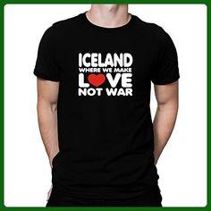 Teeburon Iceland WHERE WE MAKE LOVE NOT WAR T-Shirt - Cities countries flags shirts (*Amazon Partner-Link)
