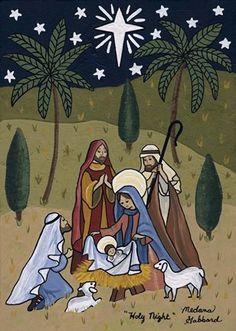 """Holy Night"" Folk Art Nativity Christmas print by Medana Gabbard; on Etsy Christmas Nativity Scene, Christmas Deco, Vintage Christmas, Christmas Crafts, Nativity Scenes, Catholic Crafts, Catholic Art, Religious Art, Christmas Drawing"