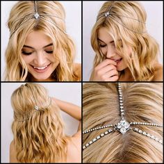 Sara Gabriel Lindsay bridal hair chain. Crystal encrusted hairchain is a dainty headpiece that adds sparkle throughout your hair. http://perfectdetails.com/blog/sara-gabriel-bridal-headpieces-hair-accessories/