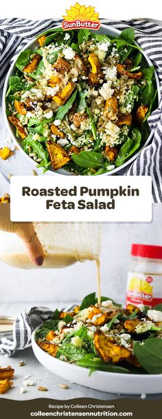 A savory pumpkin salad recipe you must try this winter. Say hello to the Roasted Pumpkin Feta Salad with SunButter dressing! Pumpkin And Feta Salad, Lunch Recipes, Salad Recipes, Couscous How To Cook, Roast Pumpkin, Nut Free, Pumpkin Recipes, Food Print, Peanut Butter