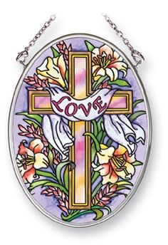Amia Suncatcher Featuring a Spiritual Cross Love Design, Hand Painted Glass, 4-1/4-Inch by 3-1/4-Inch Oval by Amia. $11.00. Includes chain. Comes boxed, makes for a great gift as well. Handpainted glass. Enjoy this beautiful, handpainted glass suncatcher by Amia. Includes chain for hanging purposes.