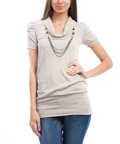 Take a look at this Oatmeal Ruched Drape-Neck Sweater by Buy in America on #zulily today!
