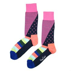 Fab.com | Crew Socks Stripe Dot Pink/Multi  I would wear the shit out of these