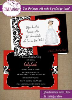 DIY PRINTABLE - Betty Boop Themed Bridal Shower Invitations.  $12.00