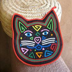 Chat félin fabuleux Mola manique Kuna indien Applique