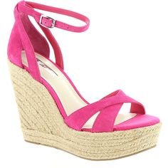 BCBGeneration Holly ($89) ❤ liked on Polyvore featuring shoes, heels, wedges, pink, sandals, wedge shoes, american shoes, pink wedge shoes, bcbgeneration shoes and bcbgeneration