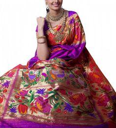Paithani saree with grand lotus design border. (luxurionworld.com)