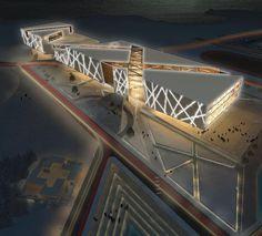 Noah Geupel Aerial night render for NewLynnwayHighschool Conceptual Architecture, Museum Architecture, Study Architecture, Futuristic Architecture, Facade Design, Exterior Design, School Building Design, Mall Design, Hospital Design