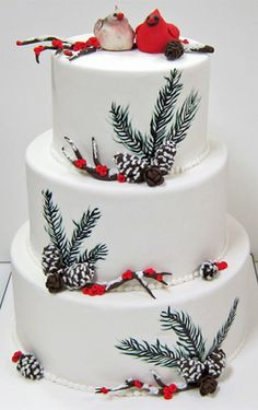 Beautiful Winter Wonderland cake from Scrumptions - a RI Gourmet Pastry Shop specializing in wedding cakes, cookies, candies and confections