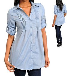 New Women's Casual Long Sleeve V-Neck Button Down Shirt Cotton Blouse Top D Blue