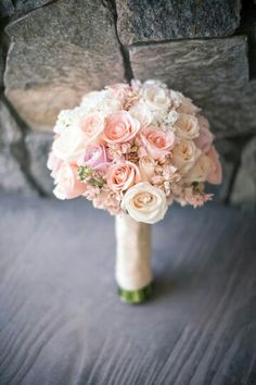 Pretty Round Bridal Bouquet Showcasing Pink Roses, Light Violet Roses, Ivory Roses, & White Roses With Light Pink Delphinium>>>>