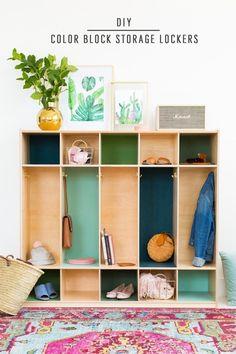 DIY Color Block Storage Lockers by top Houston lifestyle blogger Ashley Rose of Sugar & Cloth #colorblock #diy #storage