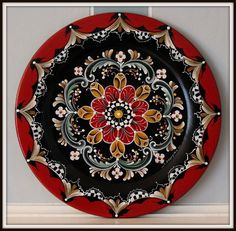 "14"" Hand painted wooden plate , Rogaland , Norwegian Rosemaling"