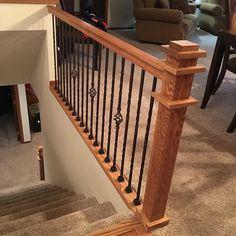 Custom oak stair rail #classicwood #kitchencabinet #lnk #entertainmentcenter #bathroomvanity #hardwood #customwork via ClassicWoodLincoln.com