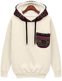 White Hooded Long Sleeve Patterned Pocket Sweatshirt