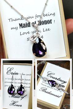 FULL SET Purple Bridesmaid jewelry purple pink by thefabbridal3, $69.99