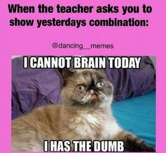 Yep….and when we do not do combos from the day before I of course remember them…..but when we have to remember them I do not… :/