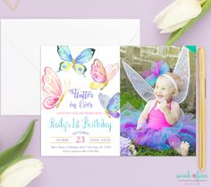 Butterfly birthday invitation pink purple gold card Butterfly