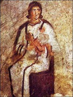 Catacumbas de Priscila. Roma, siglos II-IV. Imagen de la Virgen con el Niño o Teotokos.