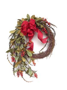 Berry Fall Wreath for Door, Autumn Wreath, Holiday Wreath, Front Door Wreath, Outdoor Wreath, Christmas Wreath, Silk Floral Wreath at www.etsy.com/shop/AdorabellaWreaths