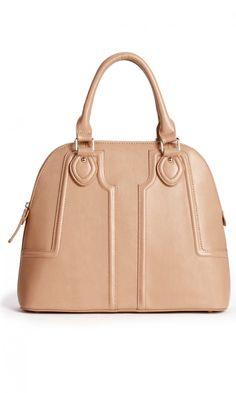 Polished vegan leather structured satchel with a retro-inspired shape, top handles, gold-toned hardware and top zipper closure.